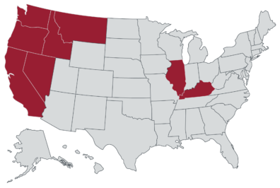 2021 pharmacy graduates matched for residencies in Washington, Oregon, California, Nevada, Idaho, Oregon, Kentucky, and Illinois.
