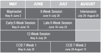 Summer Session schedule 2017