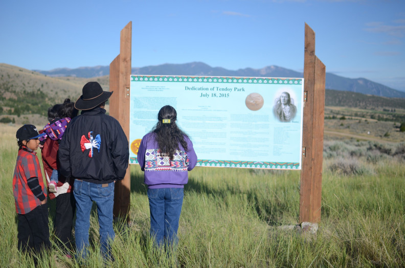 In July, the WSU Department of History cosponsored the renaming and dedication ceremony for Tendoy Park in Virginia City, honoring Chief Tendoy, an important historical Indian leader. Jack and Janet Creighton were among major supporters of the event. Photo credit: Mary Ghirardo