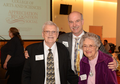 DeWald, center, with former dean Bob Nilan and his wife Mary at the 2013 CAS Appreciation and Recognition Social.