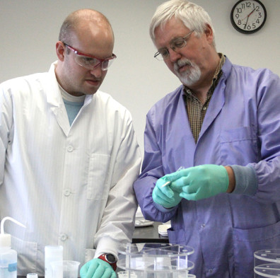 Vervoort and Andrew Child, a PhD student in the School of the environment, work in the Radioisotope and Geochronology Laboratory cleanroom, where dust, hair, and mere skin flakes pose a contamination risk to samples being prepared for analysis.