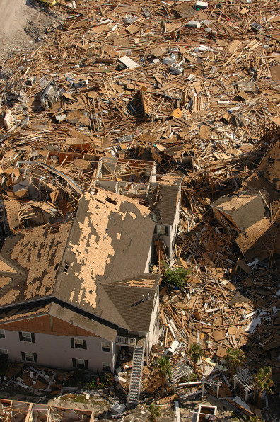 Long Beach, Ms., October 4, 2005 -- Destroyed apartment building along gulf coast Highway I-90 as a result of winds and tidal surge from Hurrican Katrina. John Fleck / FEMA