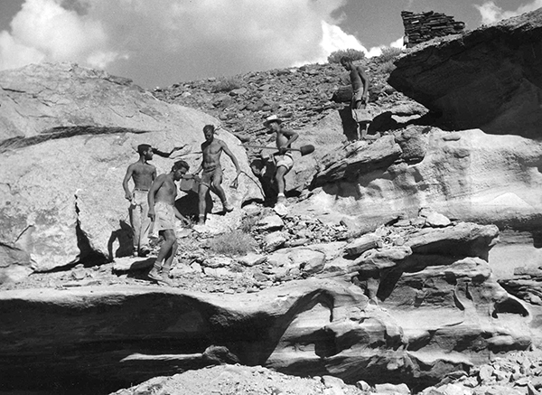 Glen Canyon Project Field School, Loper Ruin, mouth of Red Canyon. Summer of 1958. L to R: Peter Bodenheimer, Joe Jorgensen, Bill Lipe, Keith Anderson, Lynn Robbins. Photo probably by Wayne Coon or Dave Dibble