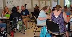 MMRE Summer Institute teachers discuss an assignment
