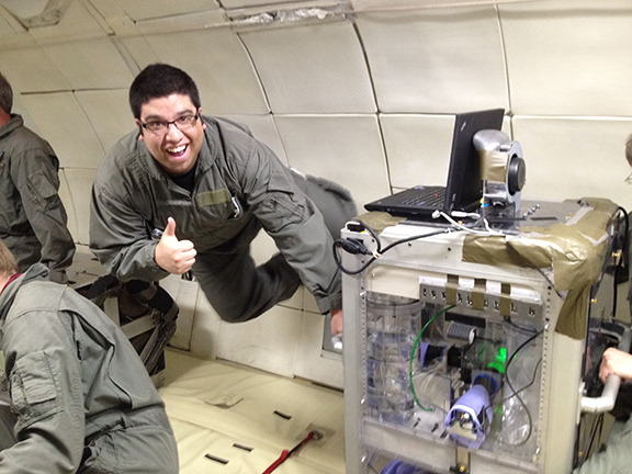 phase separation in zero g - student floats in air