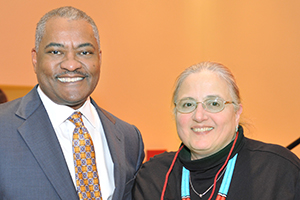 WSU President Elson S. Floyd, left, and Joanne Harkins