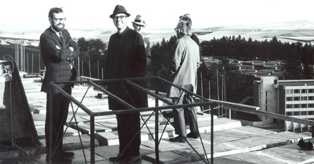 Webster planners get a top-of-the-world view during construction.