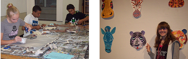 ACE kids working; ACE final projects in gallery