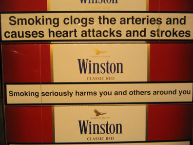 Winston cigarettes warning label; Photo by Connie CC by 2.5