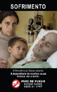 cigarette warning label in Brazil; Photo by Brazilian Health Ministry (MS) - Instituto Nacional do Câncer (INCA) [Public domain], via Wikimedia Commons