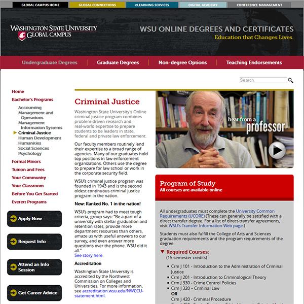 WSU online crmj degree webpage