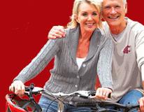 senior couple on bicycle