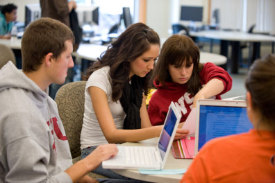 Peer tutors in the Writing Center help students with English and other course writing assignments.