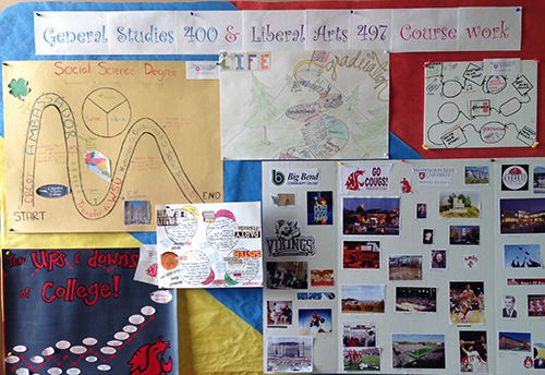 Portfolio examples from Anna Chow's students decorate a bulletin board in the General Studies office.