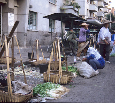 View of a 1980s street market in China. (Photo: Lydia Gerber)