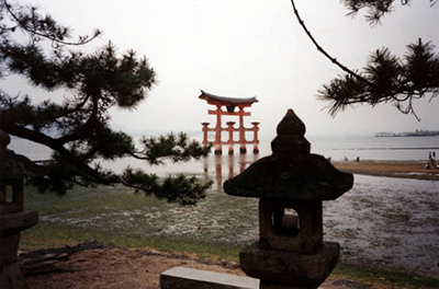 Floating Torii, Itsukushima, Miyajima, Japan. (Photo: Paul Brians, courtesy of Manuscripts, Archives, and Special Collections, WSU Libraries)