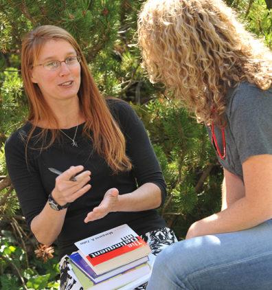Jennifer Schwartz with student outdoors