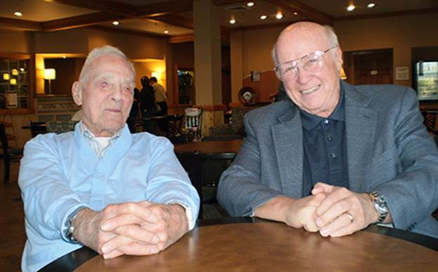 Leonard B. Kirschner, left, and Craig Jackson have remained friends since Jackson was a student at WSU in the 1960s. (Photo by Julie Smitt, WSU Foundation)