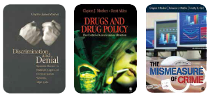 Three of Mosher's influential books, left to right: Discrimination and Denial (1988), his first book, explores racism in Ontario's criminal justice system. Drugs and Drug Policy, with Scott Atkins, first published in 2006 and now in its second edition, discusses the sometimes-arbitrary distinctions between legal and illegal drugs. The Mismeasure of Crime, with Terrance Miethe and Timothy Hart, first published in 2002 and also in its second edition, documents how bad data negatively impacts public policy.