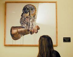 "Daniel Tate's ""Owl-bert Einstein""; photo by Ryan Pierce, The Daily Evergreen"
