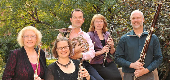 Solstice Wind Quintet: Yasinitsky, left, McCarthy, Aubin, Scott and Hare.