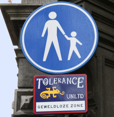 """A street sign in Amsterdam bears the message: """"Tolerance Unlimited; Nonviolent Zone."""" (Photo: Flickr/Andrew Black)"""