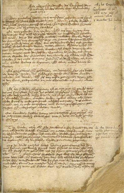 Among documents Spohnholz is reviewing is this record of minutes from a meeting of elders of a Dutch refugee church in the German town of Goch, dated 1570. (Photo courtesy Jesse Spohnholz)