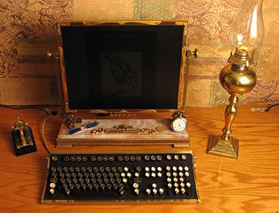 Steampunk-styled computer screen and keyboard. (Photo: Jake von Slatt)