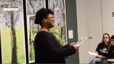 English students recited their poetry inspired by visual art.