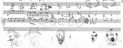 Doodles line the bottom of a page of Kattenburg's music.