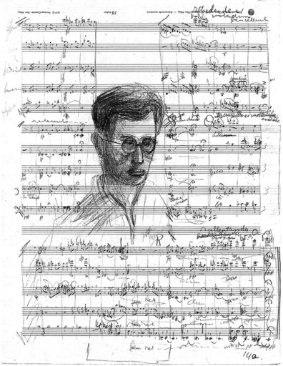 Music manuscript by Dick Kattenburg with self-portrait.