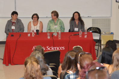 WSU women faculty in STEM fields enjoy a laugh with a WiSTEM Wednesday audience.