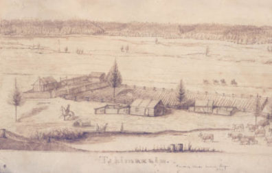 1843 drawing of the Tshimakain mission by Charles Andrew Geyer.