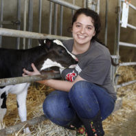 Lindsey Richmond with calf