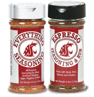 Bottle of Everything Seasoning All-Purpose seasoning for meat, seafood, potatoes, eggs, veggies, & more. Bottle of Expresso Seasoning & Rub - Enjoy with steak, port, salmon and chicken.
