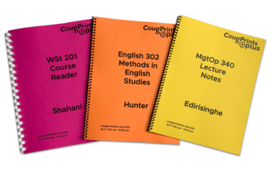 examples of three printed CougPacks, spiral and comb binding
