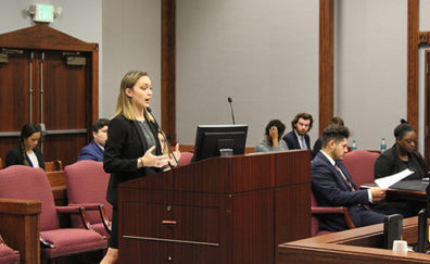 Mock Trial Team captain Sydney Buchheister gives oral arguments to the court.