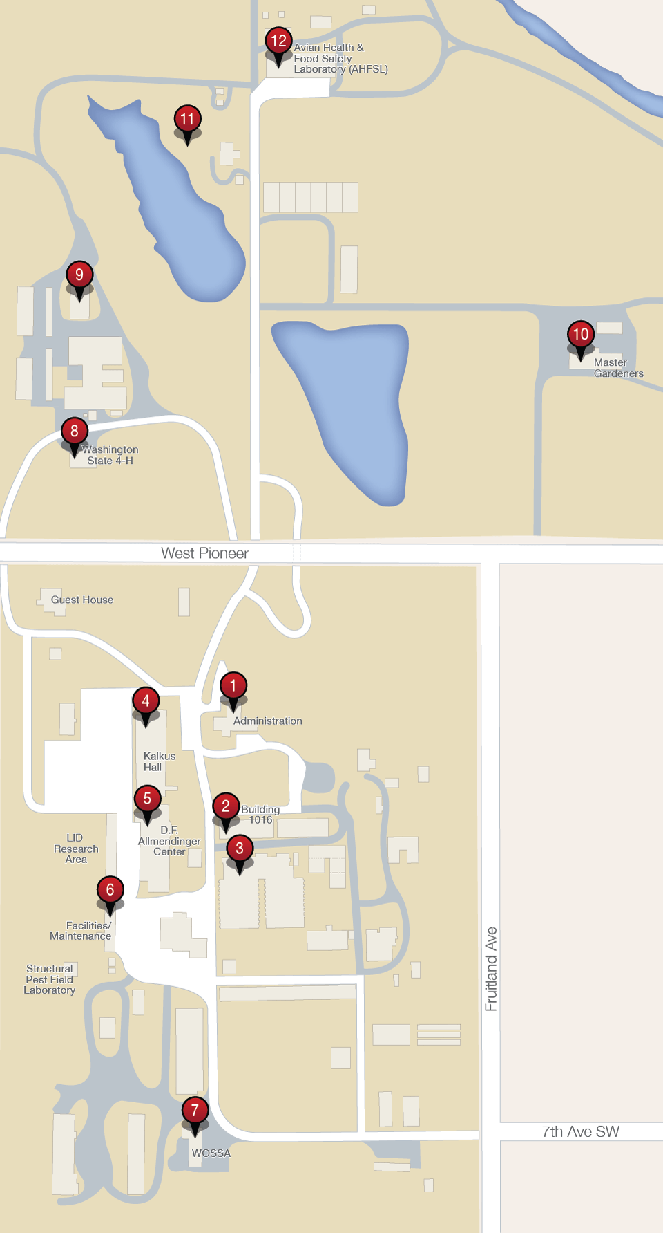 Campus Map Puyallup Research Extension Center Washington State