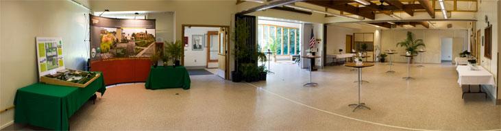 D.F. Allmendinger Center set up with presentation booths and cocktail tables.