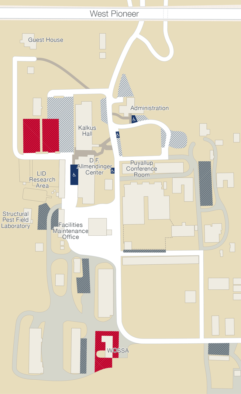 Map of the WSU Puyallup south campus with parking areas marked