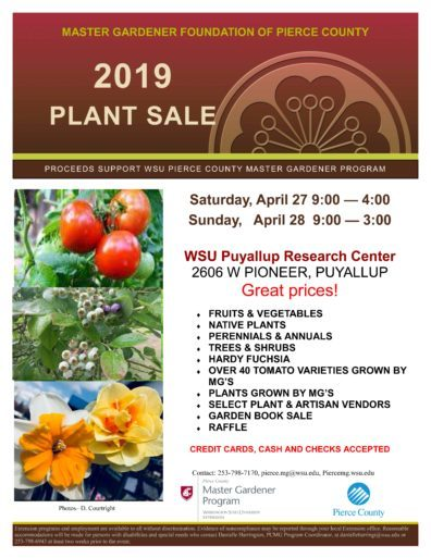 Informational flyer for PCMG 2019 Plant Sale