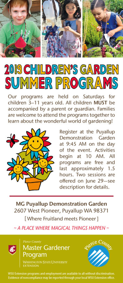 2019 Children's Garden Summer Programs flyer