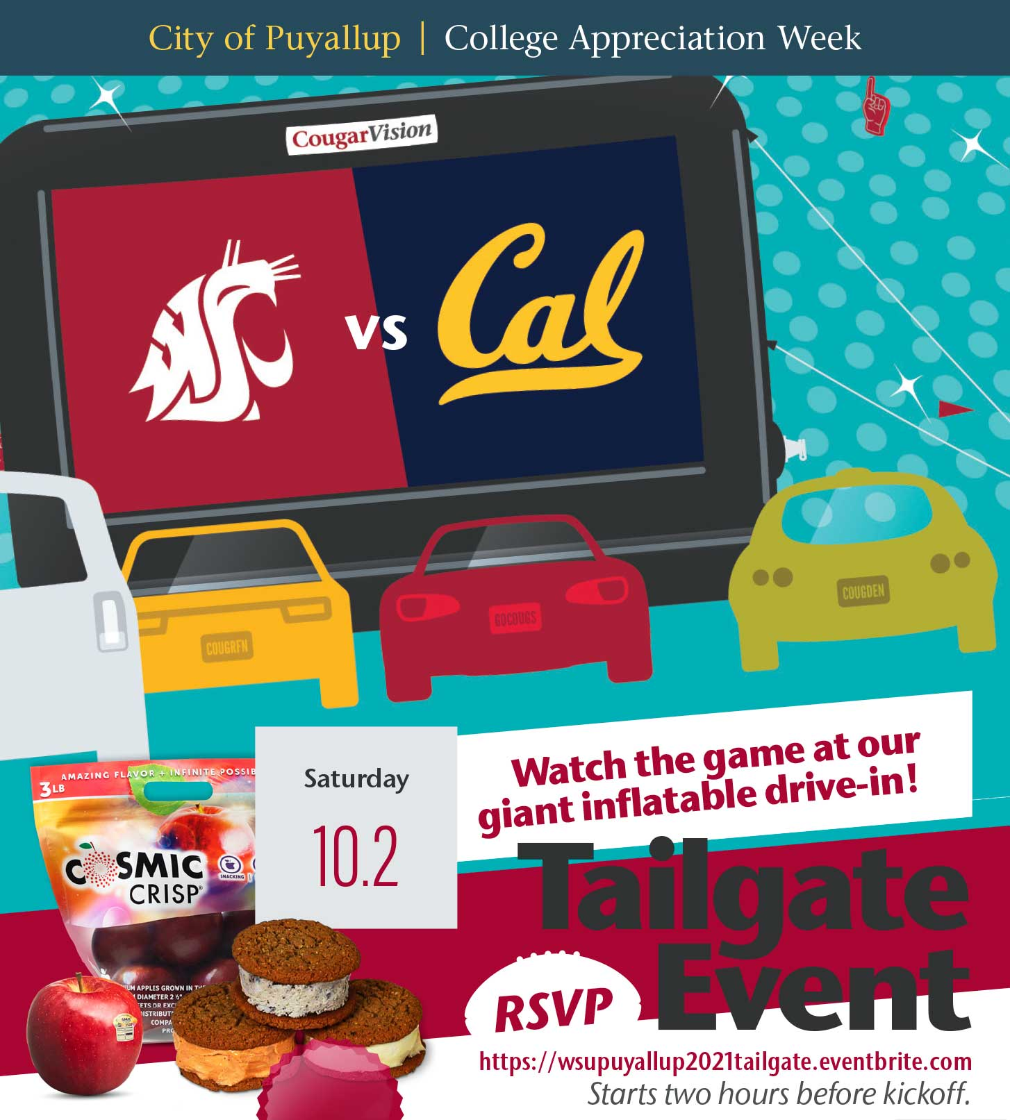 """[Illustration] Inflatable projection screen with WSU & Cal State logos. """"Tailgate Event. Saturday, 10/2. Watch the game at our giant inflatable drive-in! RSVP https://wsupuyallup2021tailgate.eventbrite.com. Starts two hours before kickoff."""""""
