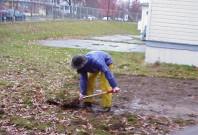 Removing turf.