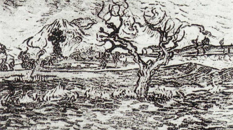 """Landscape With Olive Tree And Mountains In The Background"", Vincent van Gogh (1889)"