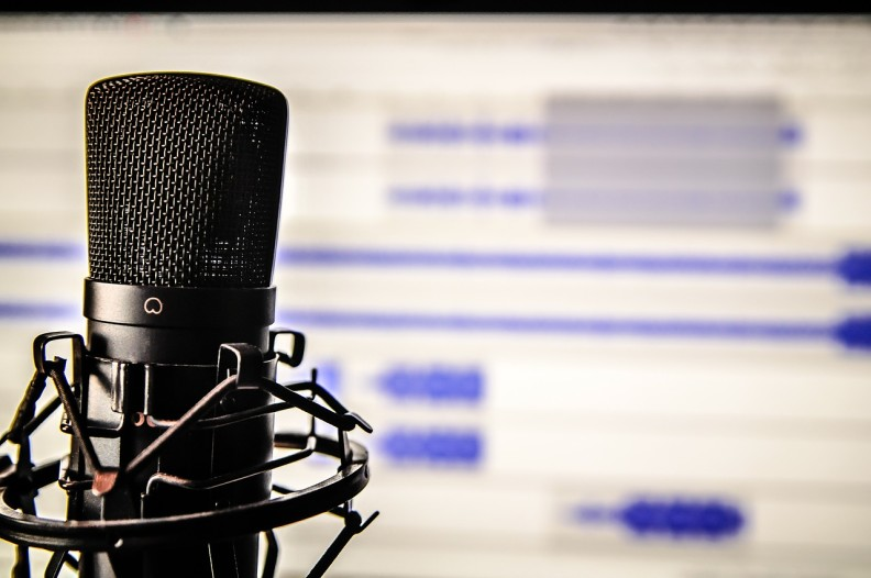 Condenser microphone in front of a blurred computer screen.