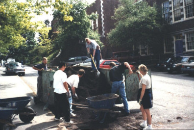 Loading soil for planting beds (May 20, 1999).