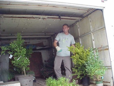 Delivering plants for the gardens.
