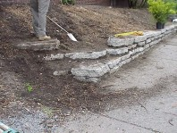 The finished retaining wall.