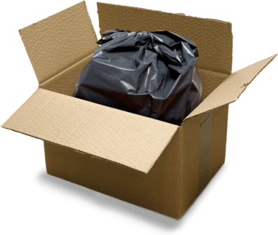 Plastic garbage bag in cardboard box